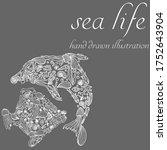 set marine doodle silhouette in ... | Shutterstock .eps vector #1752643904