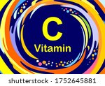 vitamin c icon. ascorbic acid... | Shutterstock . vector #1752645881