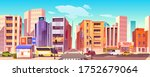 city street with houses  road... | Shutterstock .eps vector #1752679064