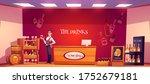 sommelier in wine shop holding... | Shutterstock .eps vector #1752679181