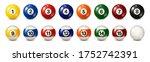 billiard  pool balls with... | Shutterstock .eps vector #1752742391