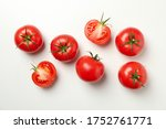 Fresh Ripe Tomatoes On White...