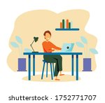 woman working at her desk at... | Shutterstock .eps vector #1752771707