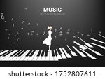 Vector Silhouette Of Woman...