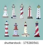 set of cartoon lighthouses.... | Shutterstock .eps vector #175283561