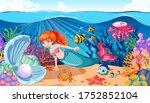 mermaid and sea animal theme...   Shutterstock .eps vector #1752852104