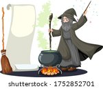 Old Wizard With Black Magic Pot ...