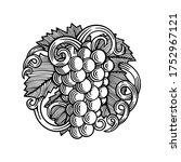 grape bunch engraving style... | Shutterstock .eps vector #1752967121