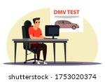 Man student character passing digital online test exam on computer to get driver license sitting at desk. Road rule knowledge checkup. Education, learning, graduate examination at driving school - stock vector