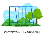 empty swing on playground in... | Shutterstock .eps vector #1753020461