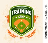 Sports baseball training camp badge logo emblem design