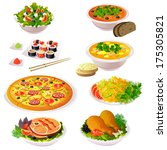 set of colorful food icons.... | Shutterstock .eps vector #175305821