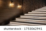 Small photo of Illuminated staircase with wooden steps and illuminated at night in the interior of a large house