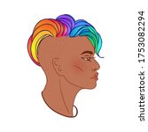 lgbt person with rainbow hair....   Shutterstock .eps vector #1753082294