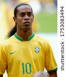 Small photo of Dortmund, GERMANY - June 27, 2006: Ronaldinho looks on during the 2006 FIFA World Cup Germany Brazil v Ghana at Signal Iduna Park.