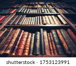 Old Book On Book Shelf Library...