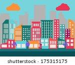 flat city scene | Shutterstock .eps vector #175315175