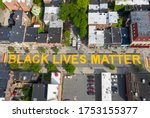 Small photo of Albany, NY/ U.S. - 06/09/20: Black Lives Matter is painted along two blocks of Lark Street in New York's Capital City. It is the brainchild of In Our Own Voice.