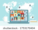 business team conference video... | Shutterstock .eps vector #1753170404