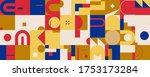 memphis style inspired pattern... | Shutterstock .eps vector #1753173284