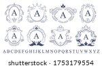 retro ornate monogram emblems... | Shutterstock .eps vector #1753179554