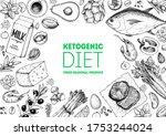 ketogenic diet sketch. food... | Shutterstock .eps vector #1753244024