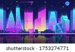 night city landscape neon pixel ...   Shutterstock .eps vector #1753274771