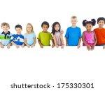 group of children standing...   Shutterstock . vector #175330301