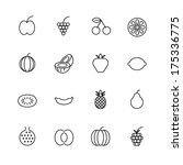 thin line icons for fruits.... | Shutterstock . vector #175336775