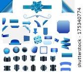 set of clean blue blank... | Shutterstock . vector #175340774