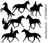 Set Vector Silhouette Of Horse...