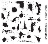 Set of black blots and ink splashes - stock vector