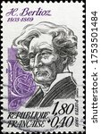 Small photo of Milan, Italy - May 20, 2020: Portrait of Hector Berlioz on french postage stamp