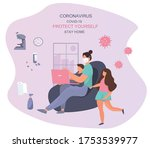 remote work at home. woman... | Shutterstock .eps vector #1753539977