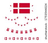 Denmark flags, borders, garlands set, collection for Flag Day and other danish national holidays.
