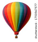 Rainbow colored hot air balloon ...