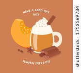 have a nice day with a pumpkin... | Shutterstock .eps vector #1753569734