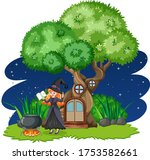 Witch Standing Beside Tree...