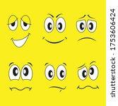 funny cartoon faces. vector... | Shutterstock .eps vector #1753606424