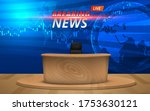 wooden table and breaking news... | Shutterstock .eps vector #1753630121