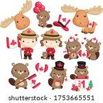a vector with canada  beaver ... | Shutterstock .eps vector #1753665551
