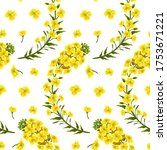 pattern rape flowers and leaves ...   Shutterstock .eps vector #1753671221