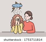a girl is sad and a woman is...   Shutterstock .eps vector #1753711814
