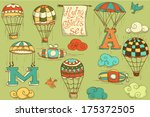 flying objects set with hot air ... | Shutterstock . vector #175372505
