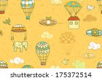 flying objects set with hot air ... | Shutterstock . vector #175372514