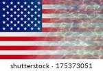 sea water wave on the us flag... | Shutterstock . vector #175373051