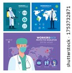 group workers wearing medical... | Shutterstock .eps vector #1753732871