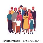 crowd of smiling diverse people ...   Shutterstock .eps vector #1753733564