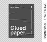 glued paper mockup realistic... | Shutterstock .eps vector #1753743161