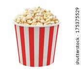 Popcorn In Striped Bucket On...